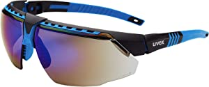 Uvex by Honeywell Avatar Safety Glasses, Blue Frame with Blue Mirror Lens & Anti-Scratch Hardcoat (S2873)