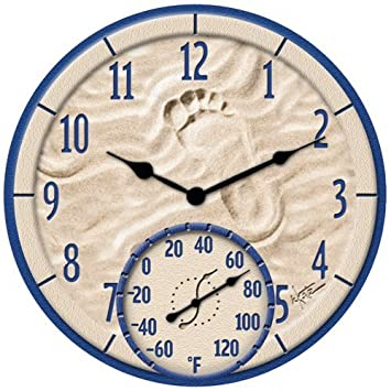 TAYLOR 91501 14 By the Sea Poly Resin Clock with Thermometer