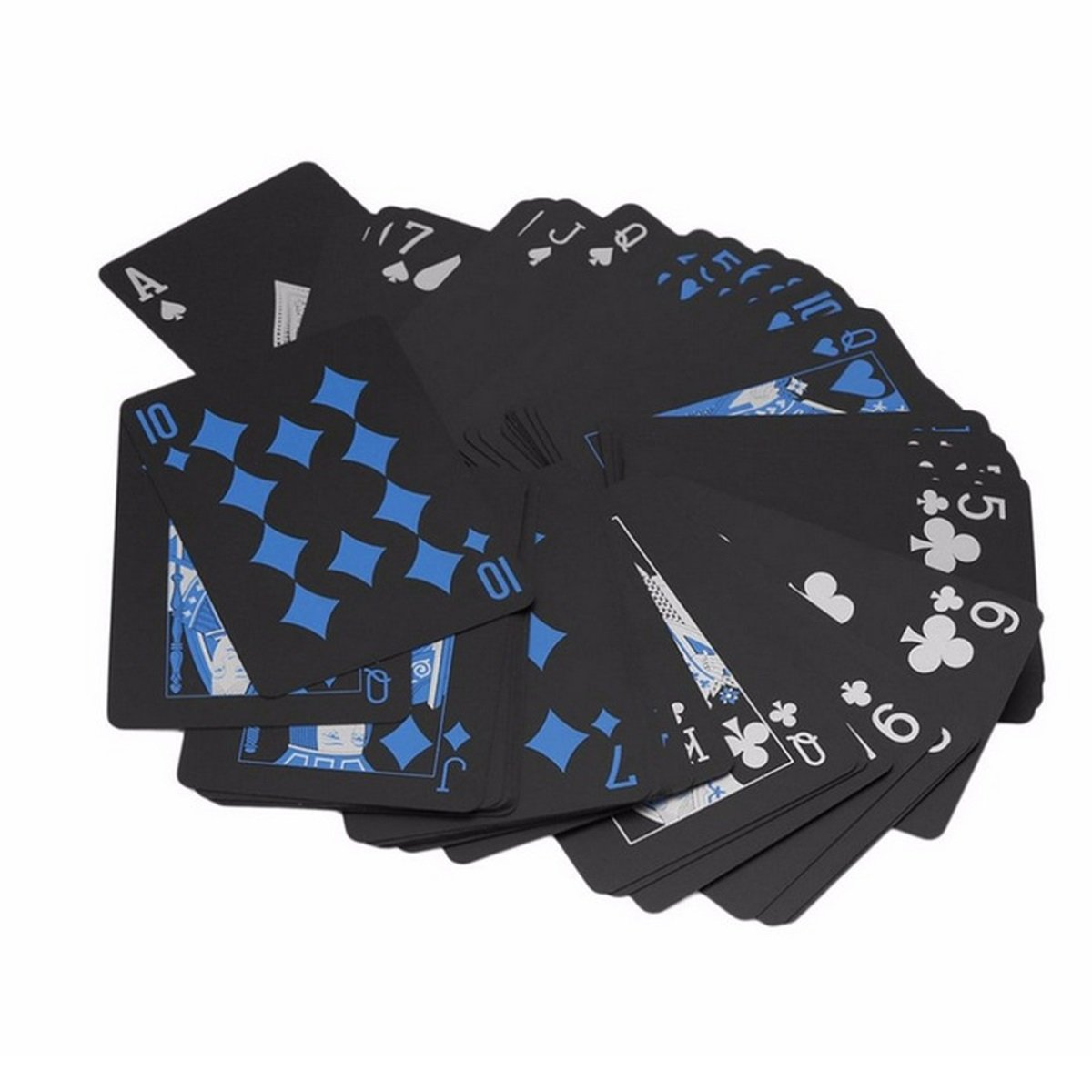 Plastic Cool Color Magic Tricks Deck Tool for Family Party Game PVC Black and Blue Playing Card Blue /& Gold TECHSON Waterproof Poker Cards Set