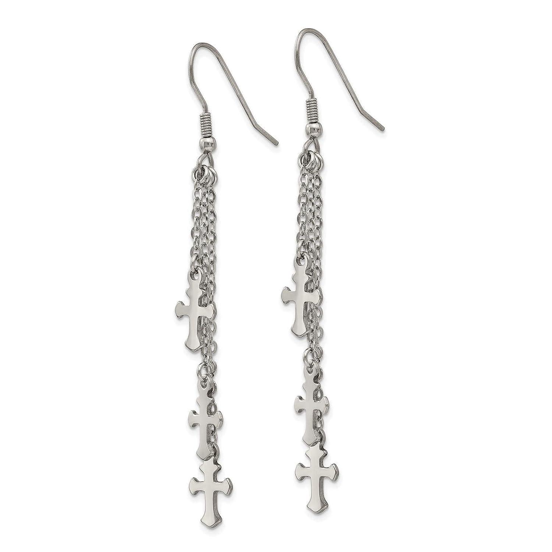 Stainless Steel Polished Multi Strand Cross Dangle Earrings