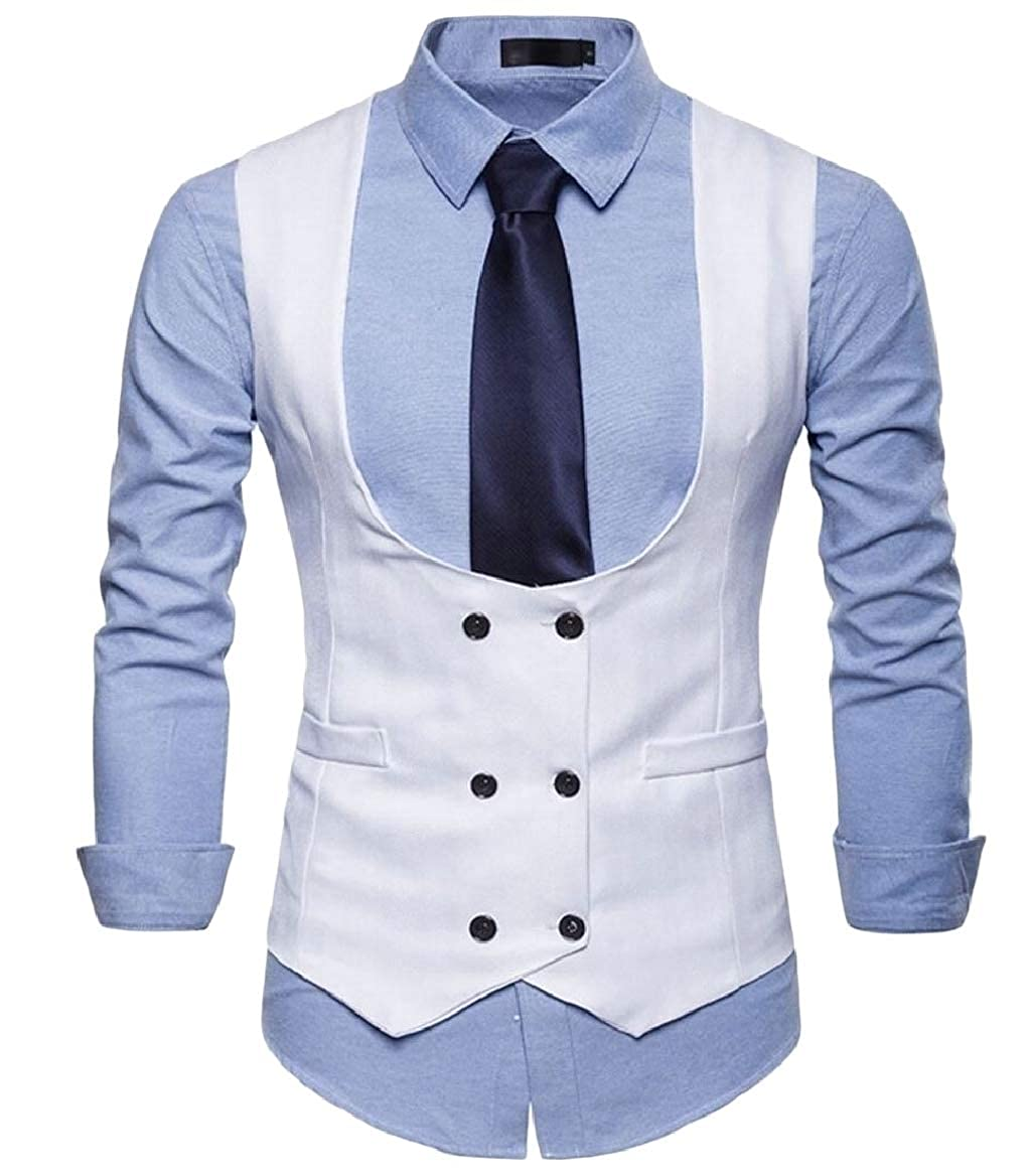 YONGM Mens Slim Fit Sleeveless Suit Vest Double Breasted Waistcoat