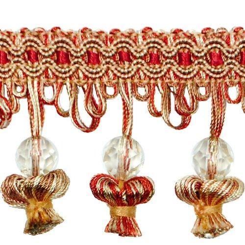 Expo International Stacia Onion Tassel Bead Fringe, 20-Yard, Rust Multi ()