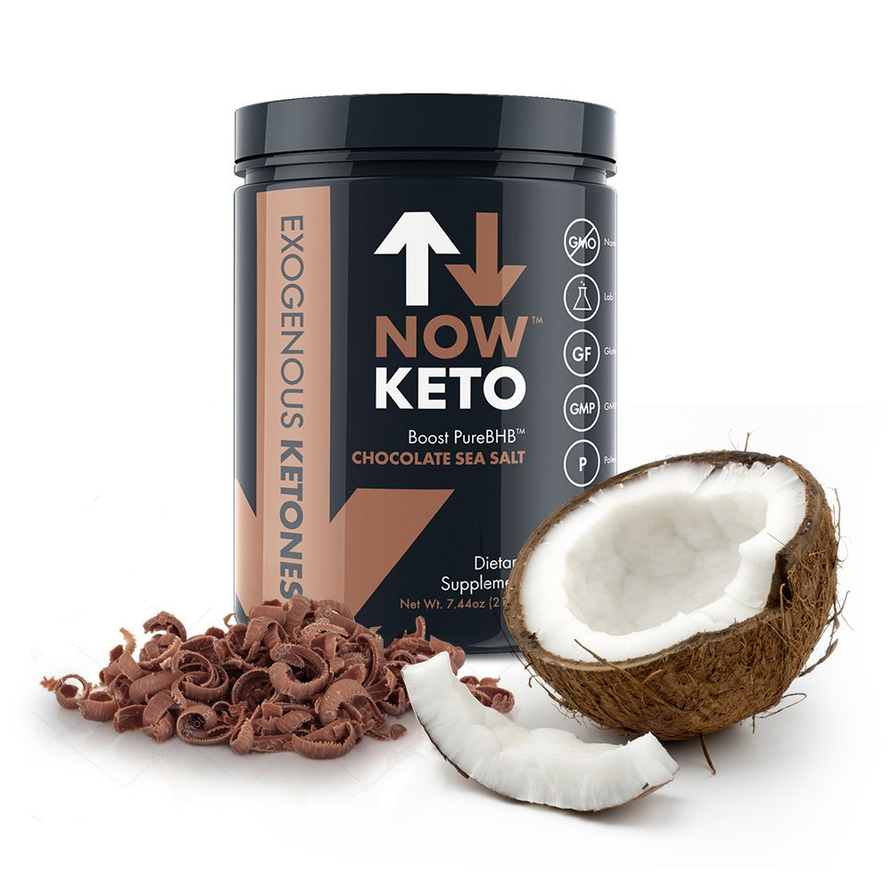 NowKeto KetoBOOST TM Exogenous Ketone Supplement Stimulates Ketosis, Burns Fat, and Boosts Energy with PureBHB TM (Beta Hydroxybutrate Salts). All-Natural Ingredients. Delicious Chocolate Sea Salt