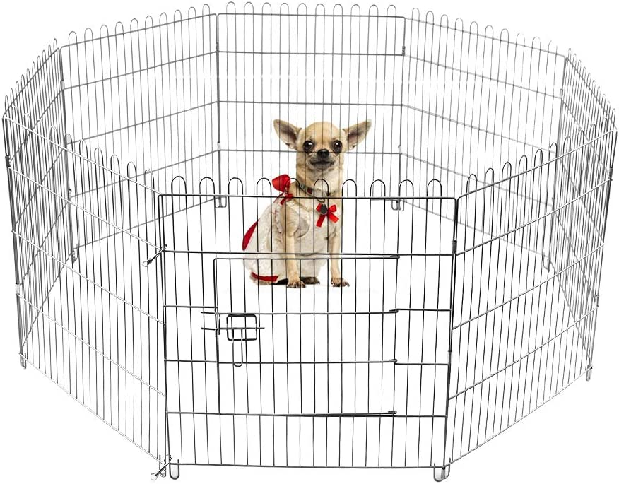 LEMKA Foldable Pet Dog Playpen Kennel Fence,Indoor Outdoor Pet Kennel Exercise Silver Galvanized Cage Never Paint Off 8 Panel-24 36 inches