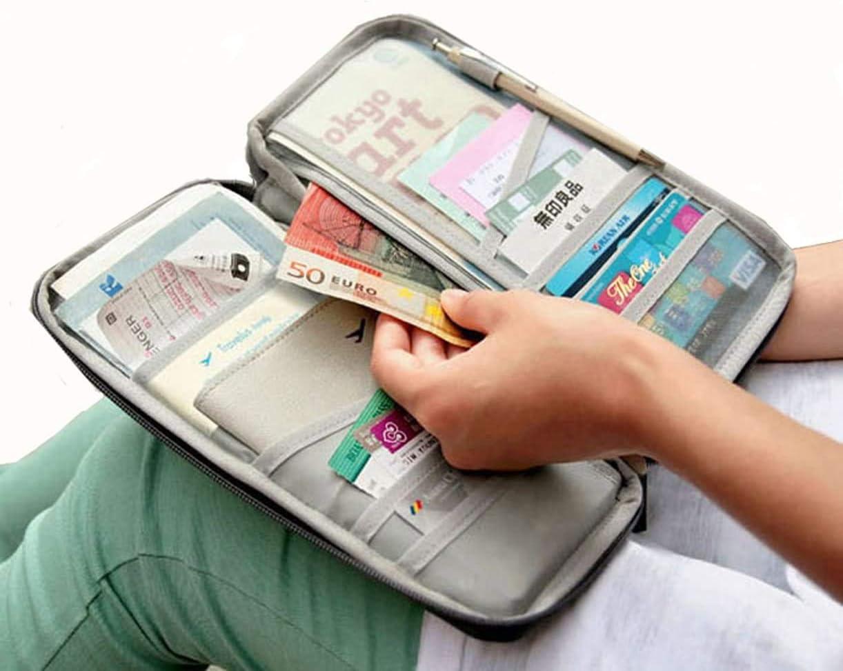 Bleu Marin Portefeuille de Voyage Poche et Porte-Cartes de Cr/édit Pochette Passeport Pratique avec Poches Zipp/ées pour Transporter des Documents de Billets dargent pour Smartphone,