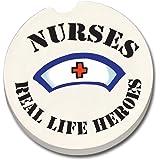 CounterArt Absorbent Stoneware Car Coaster, Nurses-Real Life Heroes