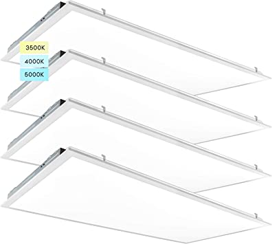 Luxrite 2x4 FT LED Light Panel, 40/50/55W, Color Temperature Selectable 3500K   4000K   5000K, Dimmable Drop Ceiling Lights, 5000/6250/6875 Lumens, IC Rated, UL Listed, 120-277V, DLC Premium (4 Pack)