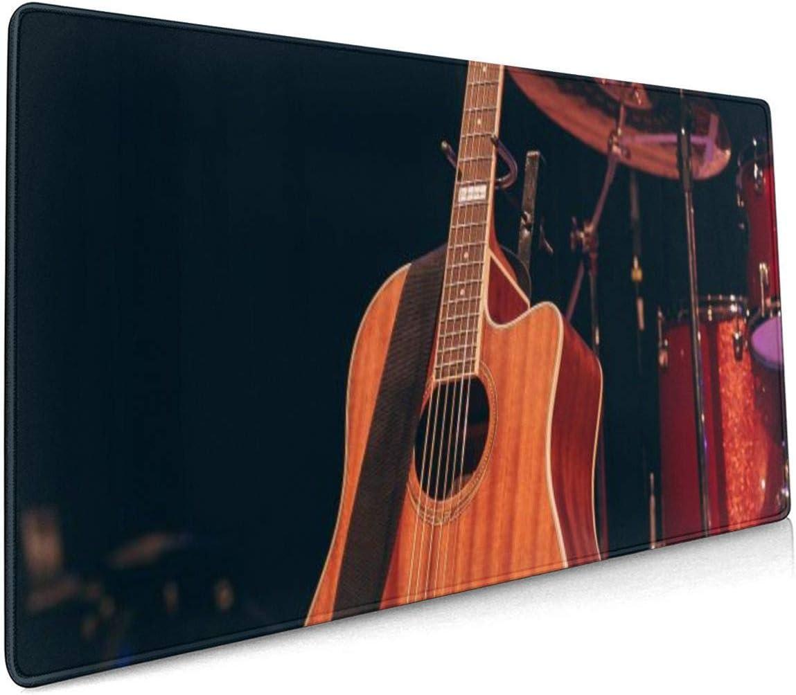 Guitarra Instrumento Música Cuerda Alfombrilla de ratón Grande para Juegos, Alfombrilla de ratón Antideslizante con Base de Goma