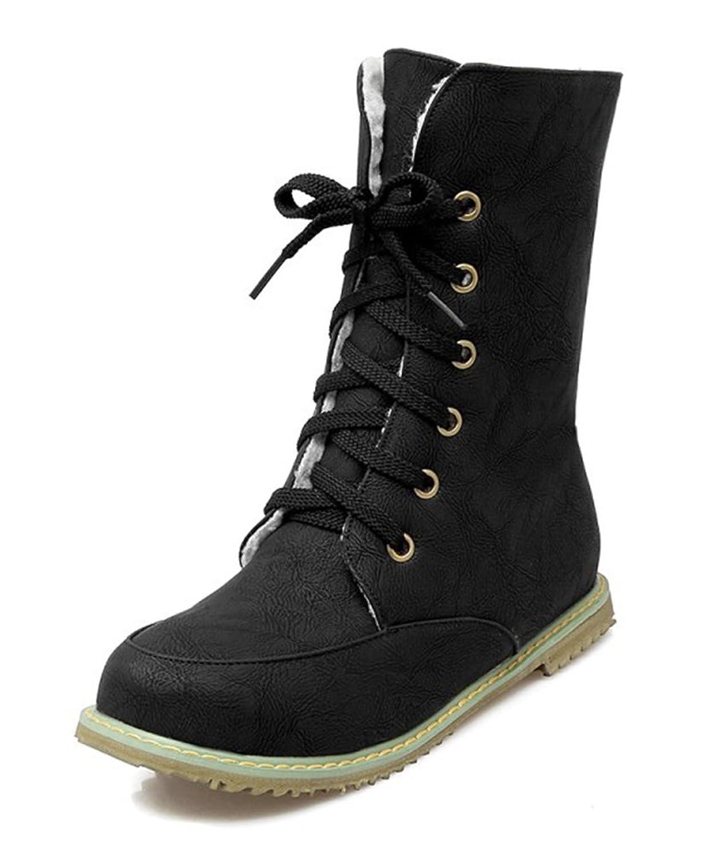 SHOWHOW Damen Flach Kurzschaft Stiefel Schnürsenkel Worker Boots Schwarz 42 EU lfmHcXGMY