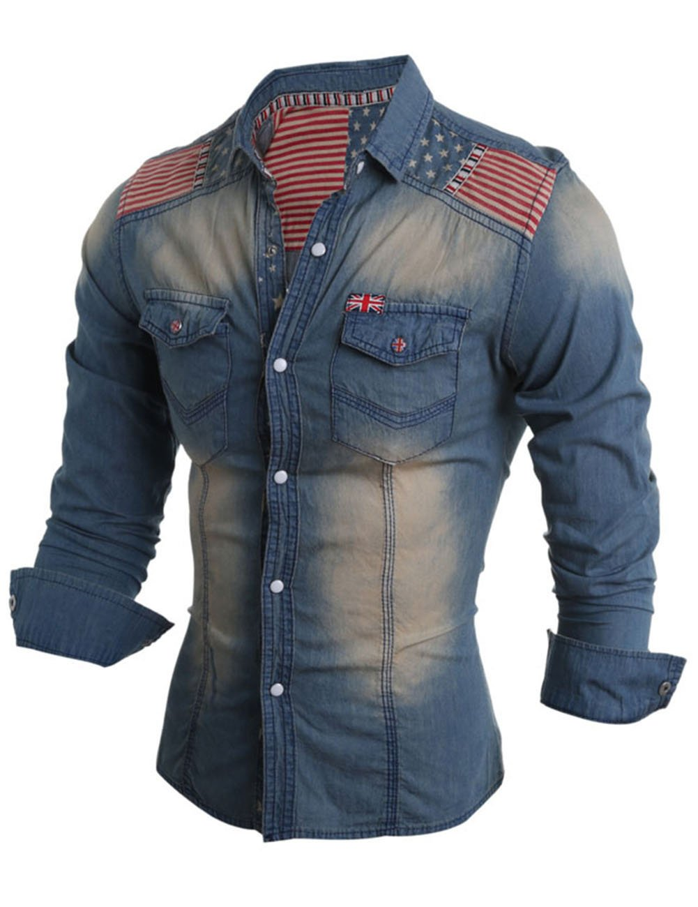 Men's The Union Flag Pattern Long Sleeve Jean Shirt Deep Blue L by YTQ (Image #2)
