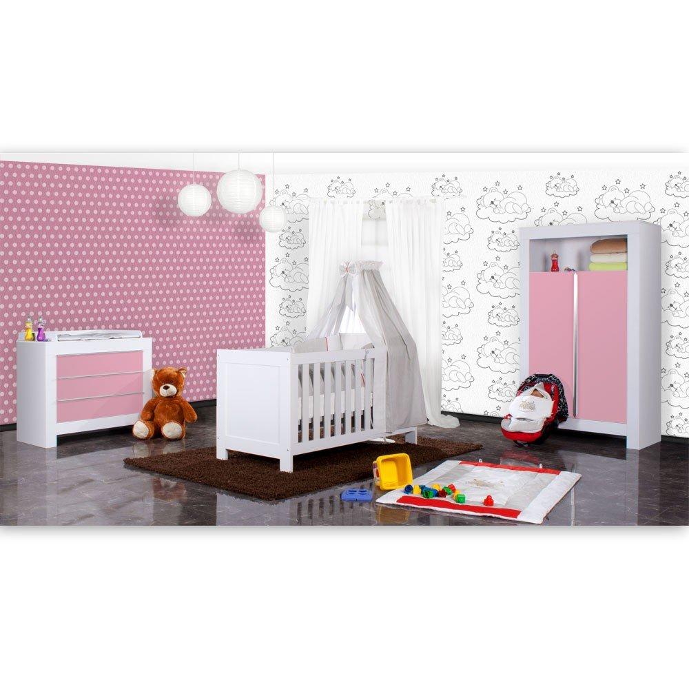 Babyzimmer Felix in weiss/rosa 21 tlg. mit 2 türigem Kl + Sleeping Bear in grau