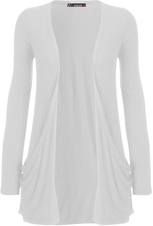 WearAll Women's Long Sleeve Pocket Cardigan - White - US 8-10 (UK 12-14)