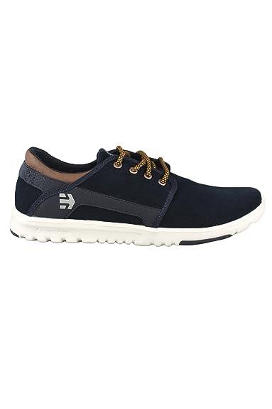 2b9b34c2541ef Etnies Chaussures Scout col 480 Bleu marine Marron Blanc pour homme en daim  Chaussures de skate