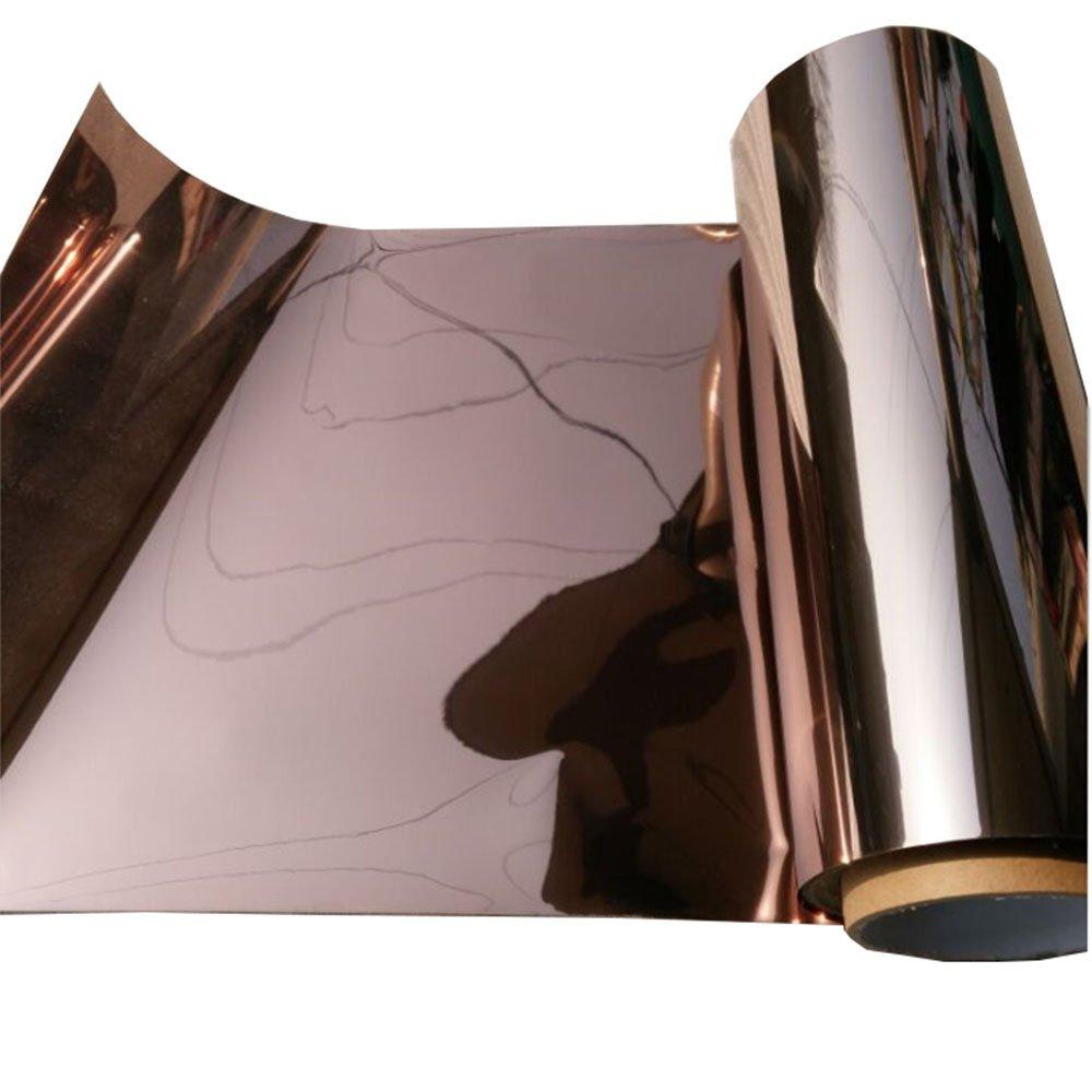 HOHO Solar Window Tint Film One Way Vission Bronze Silver Mirror Glass Stickers, 19.7x196.8 19.7x196.8