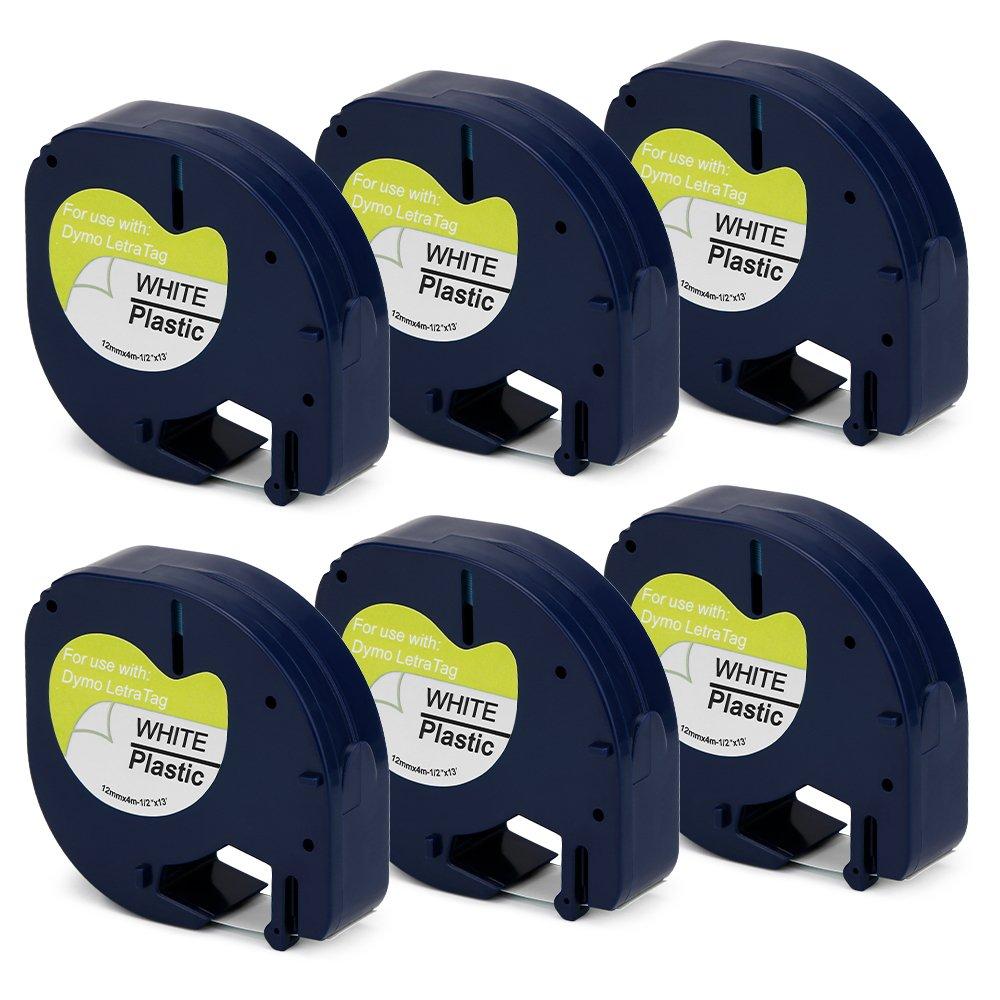 Jofoce Compatible DYMO LetraTag 91331 Label Tape 12mm (1/2 inch) Width X 4m (13 Ft) Length Black on White, Work with DYMO LetraTag Plus LT-100H LT-100T QX50