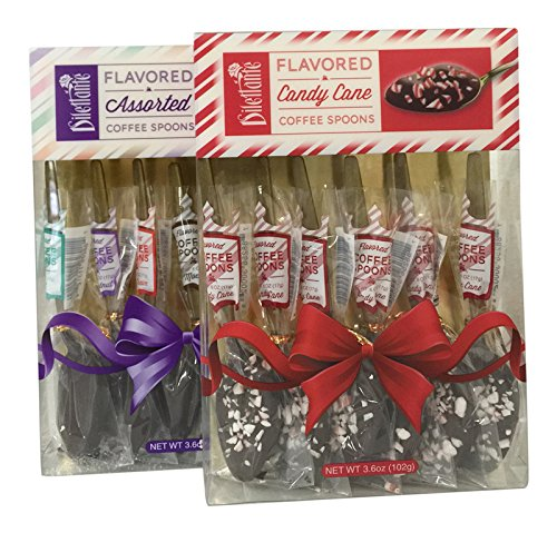 Dilettante Gourmet Chocolate Flavored Coffee Spoons, Candy Cane & Assorted, 2 Pack