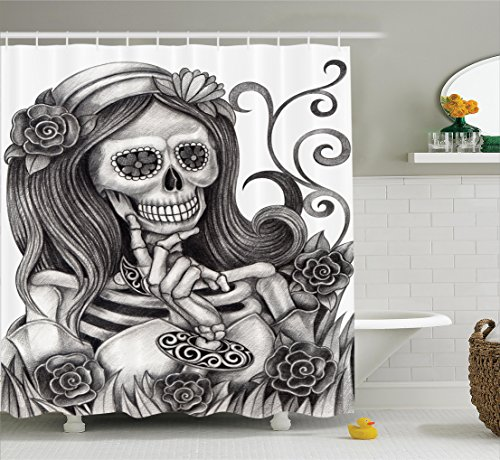 Ambesonne Skulls Decorations Collection, Sexy Skull Girl with Floral Veil Ceremony Day of the Dead Bride Skeleton Lady Art, Polyester Fabric Bathroom Shower Curtain Set with Hooks, Grey White - Day Of The Dead Clothes Ideas