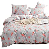 Hanacat 布団カバー ダブル 4点セット 掛け布団カバー ボックスシーツ 枕カバー 洋式 ベッド用 フラワー柄