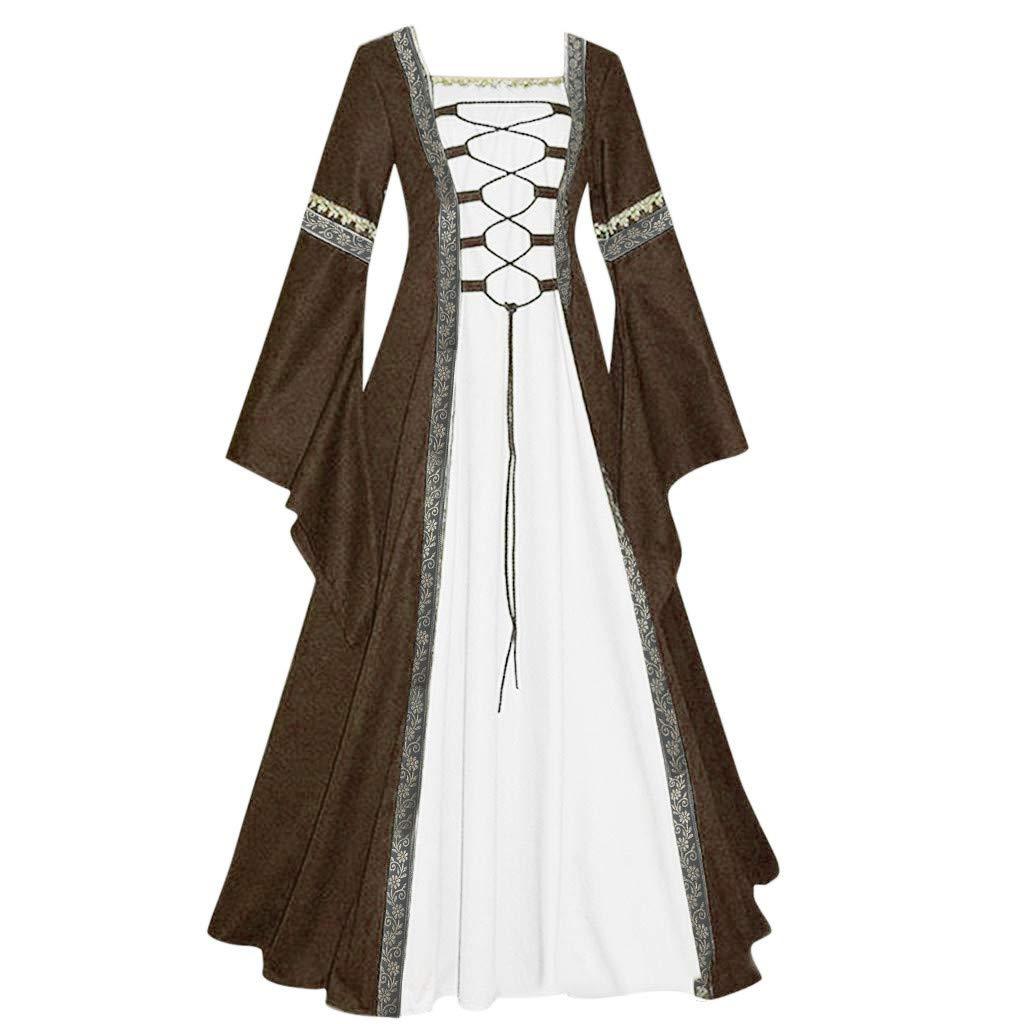 Tantisy ♣↭♣ Women's Lace Up Medieval Maxi Dresses Renaissance Gothic Cosplay Dress Vintage Celtic Floor Length Dress Khaki