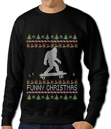 LLiYing-D Bigfoot Skateboard Funny Christmas Adult Mens Fashion Long Sleeve Hoodie T Shirt