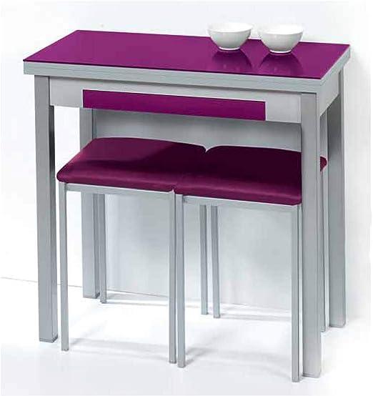 Sueña y Descansa Mesa Libro Tapa de Cristal Color Morado 90 x 50 ...