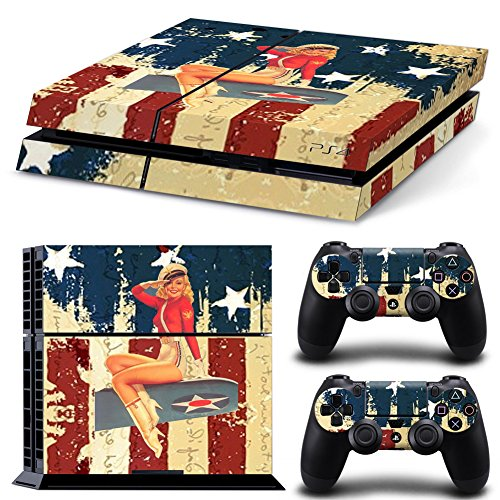 FriendlyTomato PS4 Console and DualShock 4 Controller Skin Set - USA Flag US AIRFORCE ARMY - PlayStation 4 Vinyl