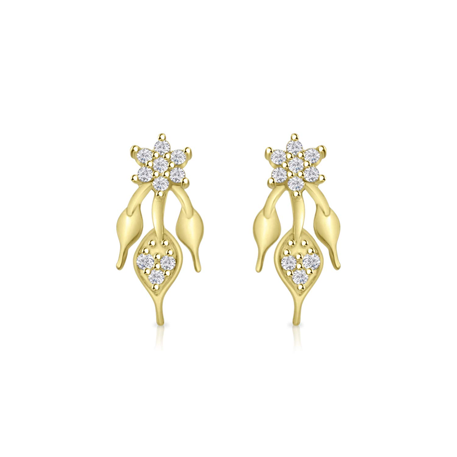 Silver Dew 14k White Gold//Yellow Gold Plated Over Flower Leaf Stud Earring For Womens Bridal Earrings For Girls