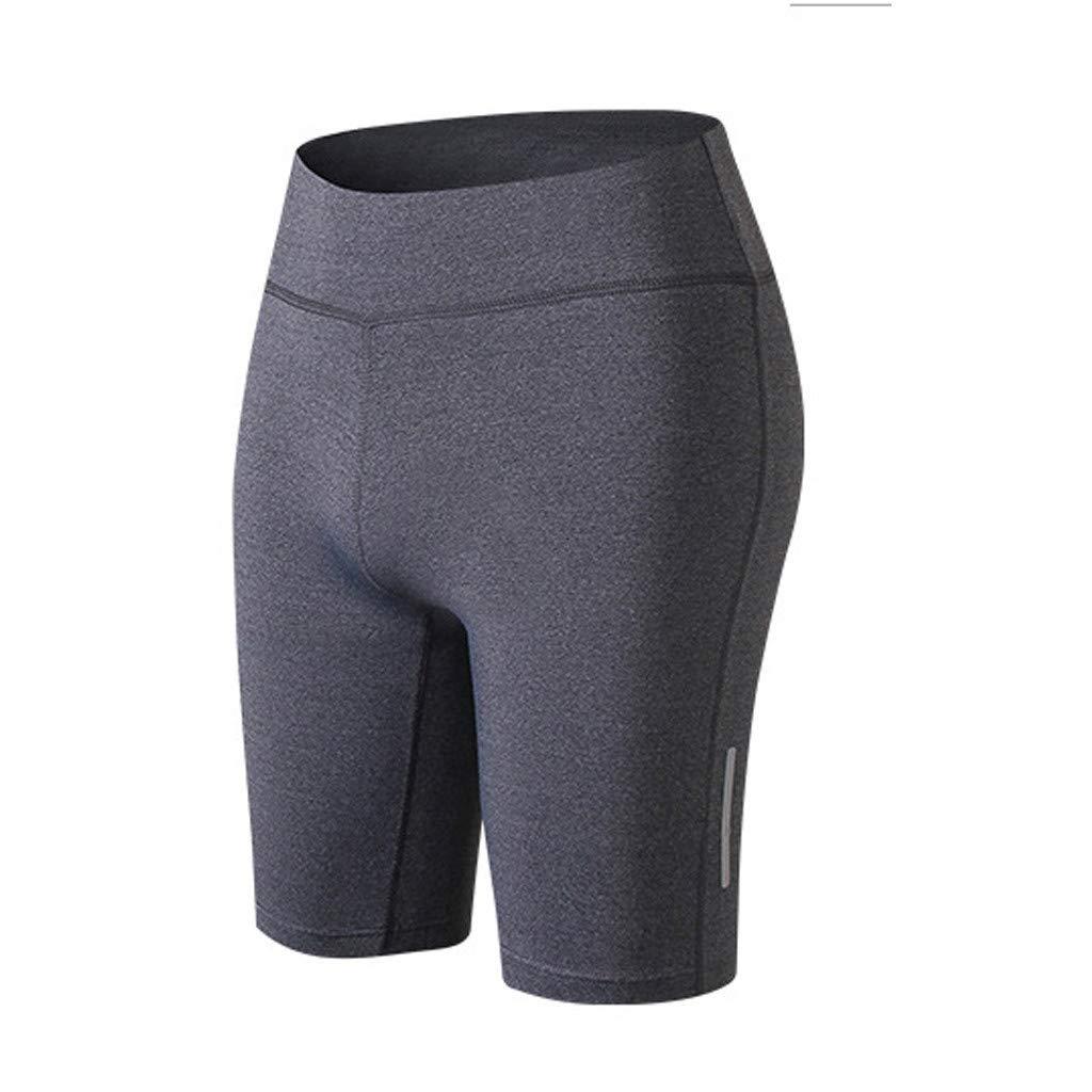Women's Fitness Yoga Shorts,High Wais Reflective Strip Night Athletic Workout Running Training Short Pants Activewear (Gray, XL)