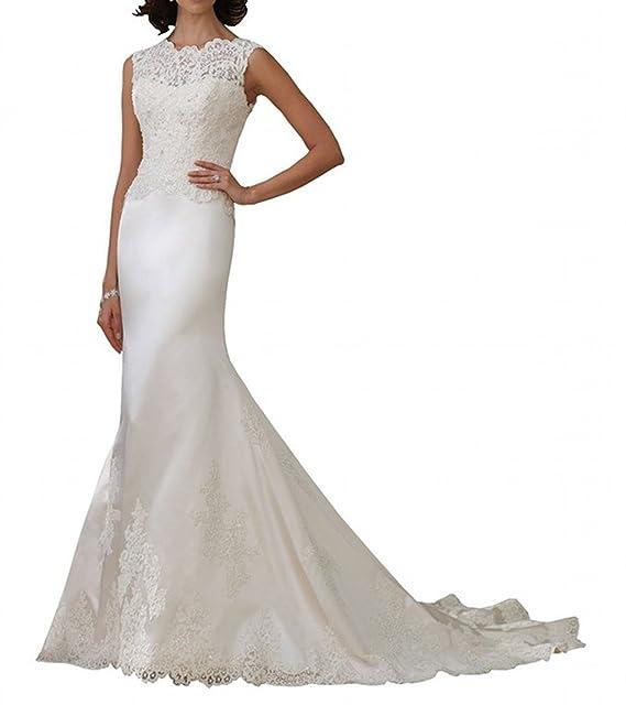 LYDIAGS - Vestido de novia - corte imperio - Sin mangas - Mujer Marfil Marfil 51