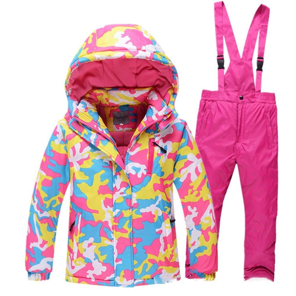 ソフトガールのスキースーツ、 子供のスキーウェアセット男の子と女の子のアウトドアスポーツ防風防水暖かい厚いスキースーツ (色 : Rose 赤 camouflage, サイズ : 10A) Rose 赤 camouflage 10A