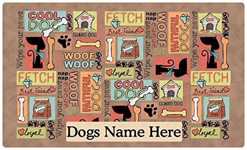 Drymate Pet Placemat, Dog Food Mat - Personalized Pet Food Mat - Personalized Placemats For Dogs (Made from Recycled Fibers, Machine Washable) - Cool Dog, Brown (Medium - 12