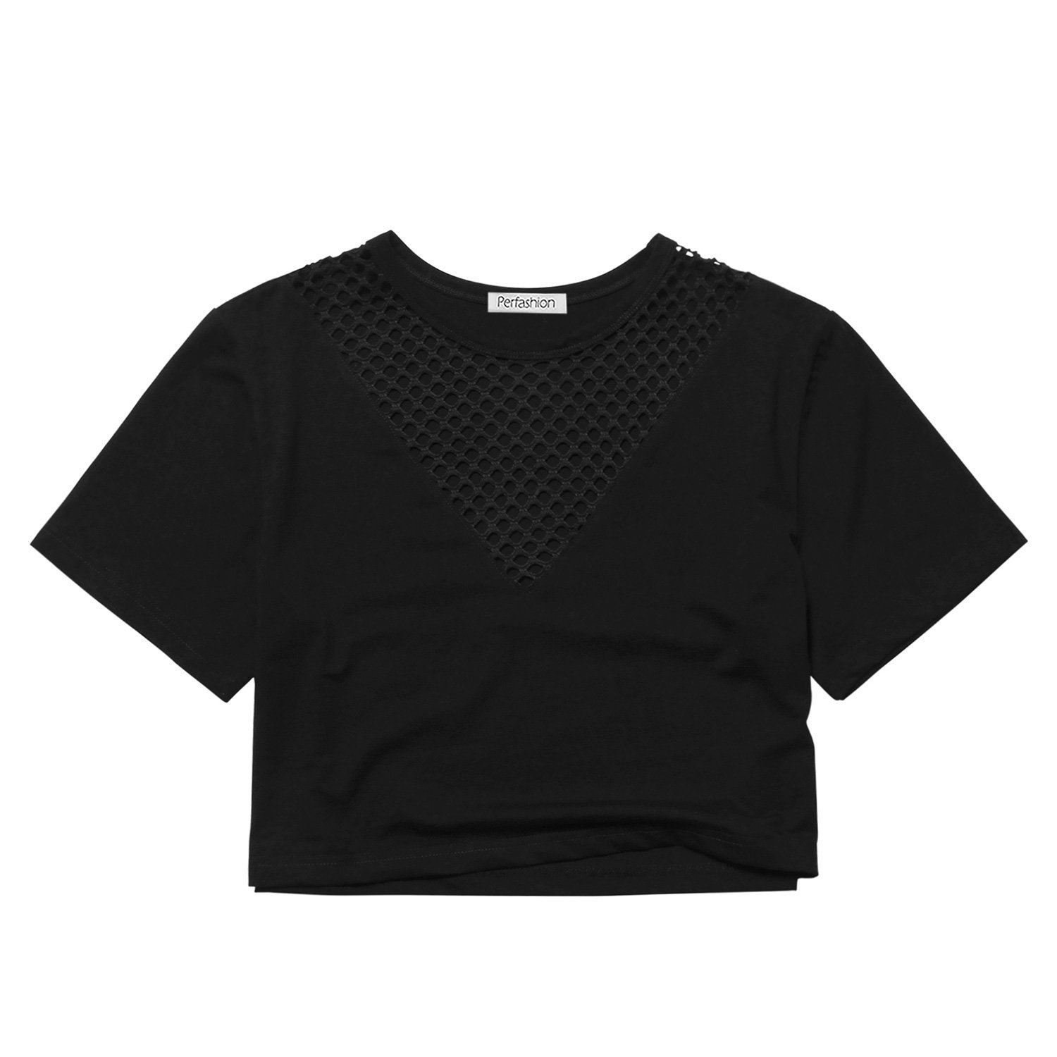 short sleeve crop tops for women Black Large by Perfashion (Image #5)