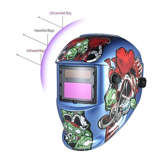 Value-Home-Tools - Industrial Welding Helmet Solar Power Auto Darkening Welding Helmet TIG MIG Cartoon Zombie Design - - Amazon.com