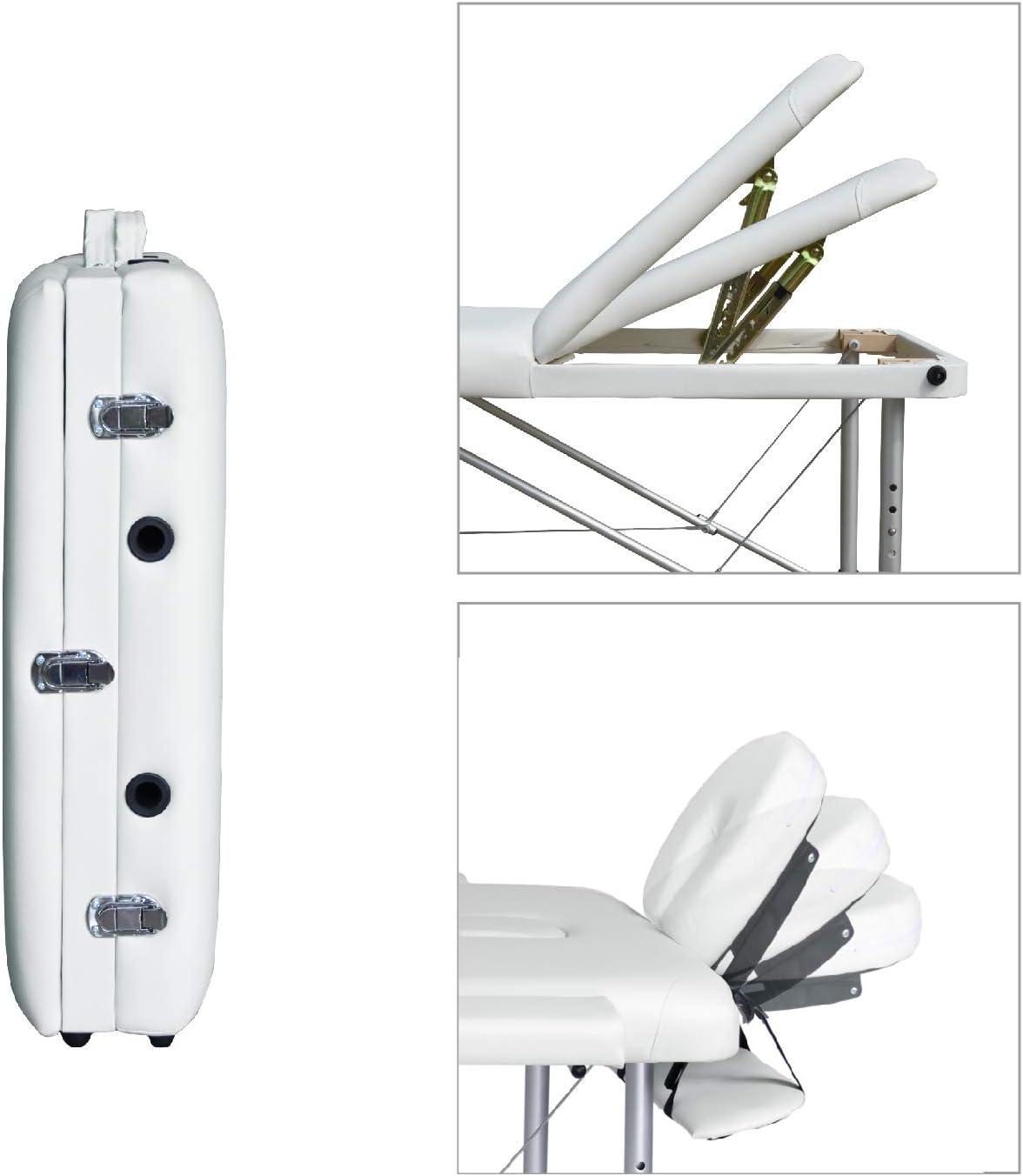 Wellhome 2 Zones Aluminium Table de Massage Pliante L/éger Professionnelle Lit Massage Portable Pliable Hauteur R/églable Salon Spa avec Appui-t/ête Housse de Transport Blanc Accoudoir