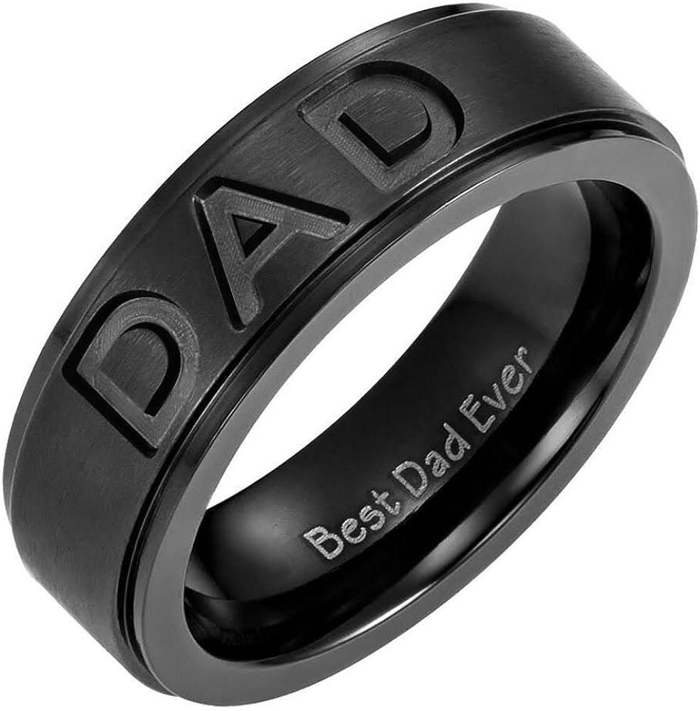 Willis Judd New Mens Black Titanium DAD Ring Engraved Best Dad Ever