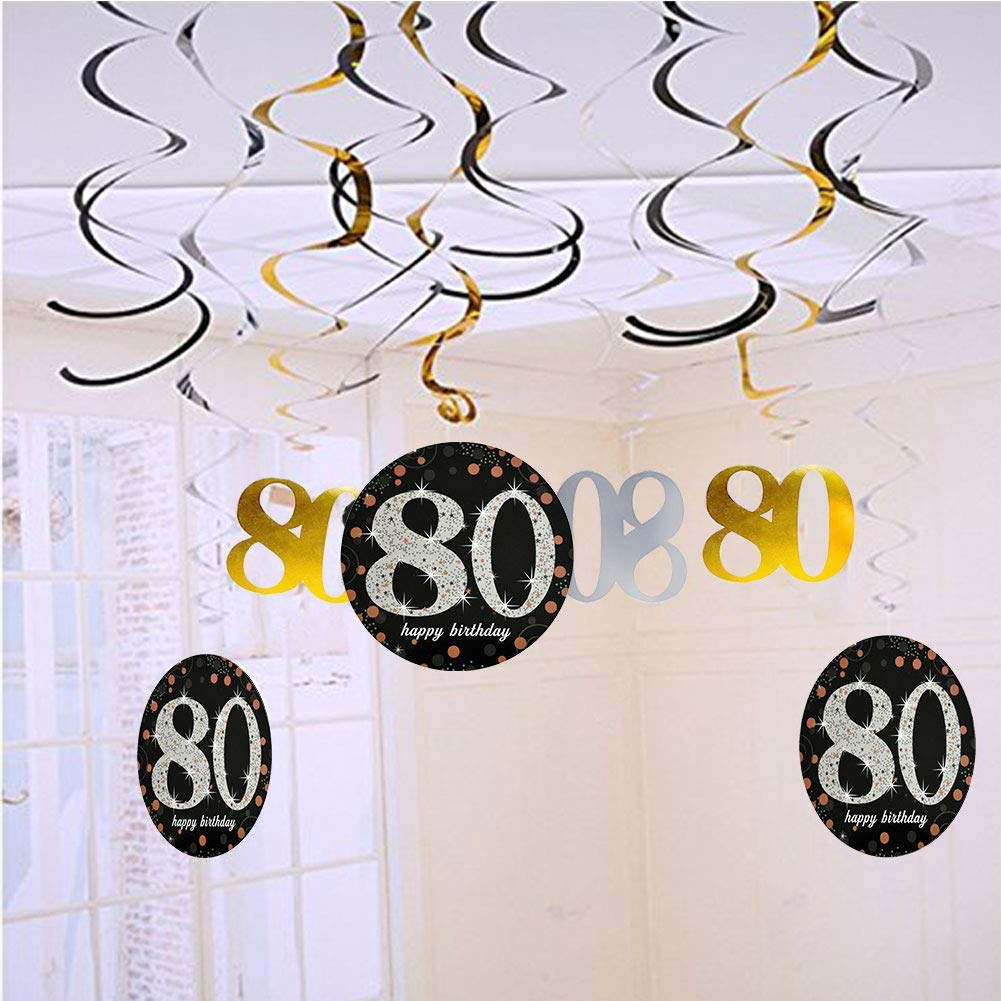 80th Birthday Party Decorations Kit Cheers to 80 Years Banner,Sparkling Hanging Swirl Decorations,Perfect 80th Anniversary Decorations 80 Years Old Party Supplies