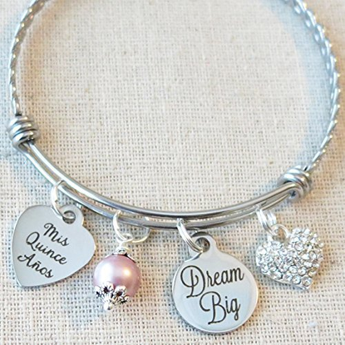 Quinceañera Bangle, 15th Birthday Gift for Teenager, Dream Big Bracelet, Mis Quince Años Bangle, Mis Quince Gift, Sweet 15 Birthday Quinceañera Bangle