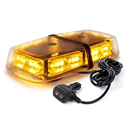 Xprite Amber Yellow 36 LED Emergency Strobe Lights Mini Bar 16 Flashing Modes Warning Beacon Light w/Magnetic Base for Law Enforcement Hazard Vehicles, Trucks, Snow Plow, Construction Cars: Automotive