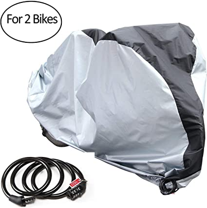 Waterproof Bike Cover For 2 Bikes Outdoor Storage With Free Lock 190T Cloth /&