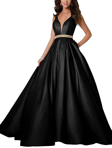 Trust Linda Satin Evening Dresses Long Deep V Neck Plus Size ...