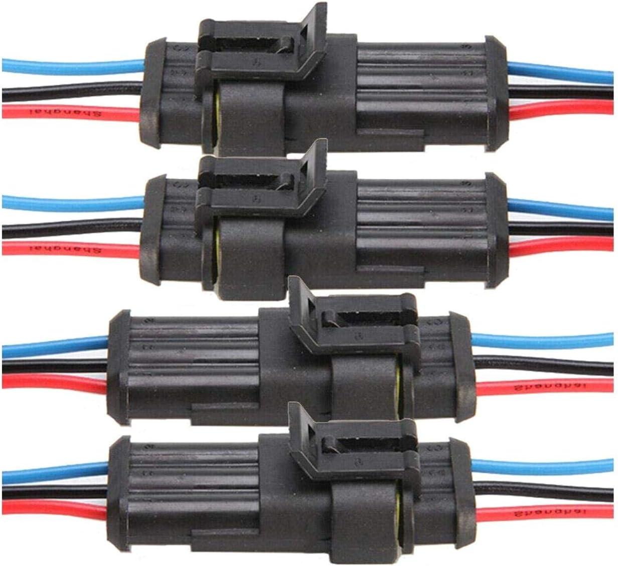 ZXYAN 3 Pin 10 Kit Connettore Filo Elettrico Spina 20-16 AWG IP67 Custodia in Nylon PA66 Impermeabile Prese terminali Serie 1.5mm Spina CA//CC