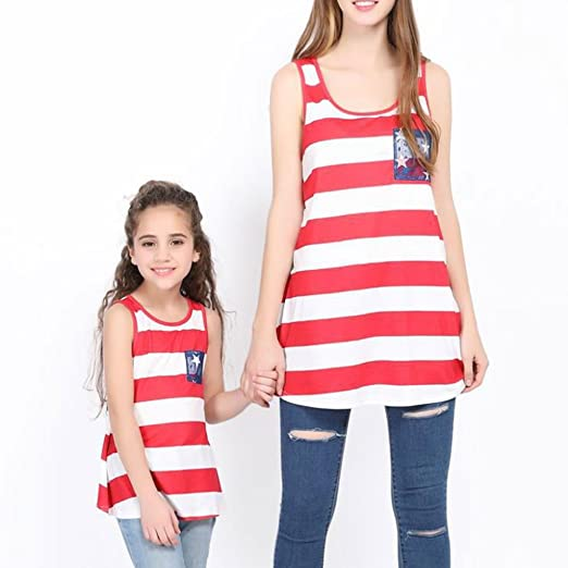fa82fbb488b MLDYGYC Mother Daughter Family Matching T Shirts Striped USA Flag Family  Clothes at Amazon Women s Clothing store