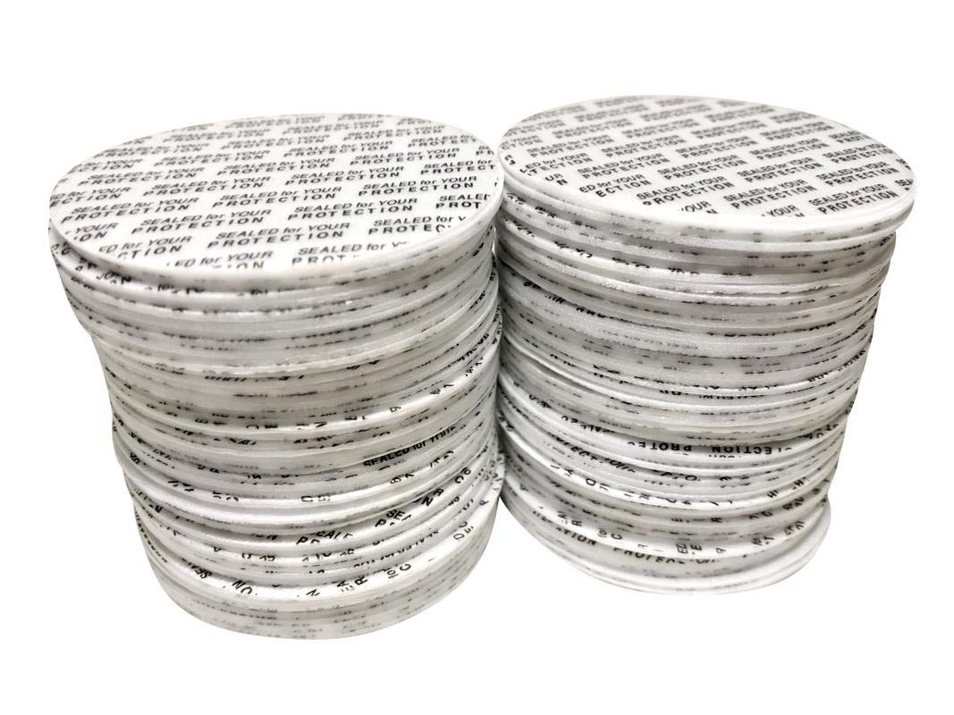 [500 Count] 58mm Pressure Sensitive PS Foam Seals Caps Liners''Sealed for your Protection'' Tamper Proof, Polystyrene lids for bottles jars