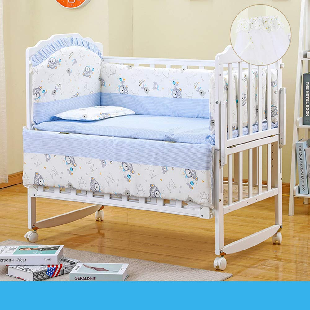 Dzhyy Babybett Kiefer Doppelschicht Einstellbar Neugeborenes Stitching Bett,White,Cot+ Five-Piece sea Blue