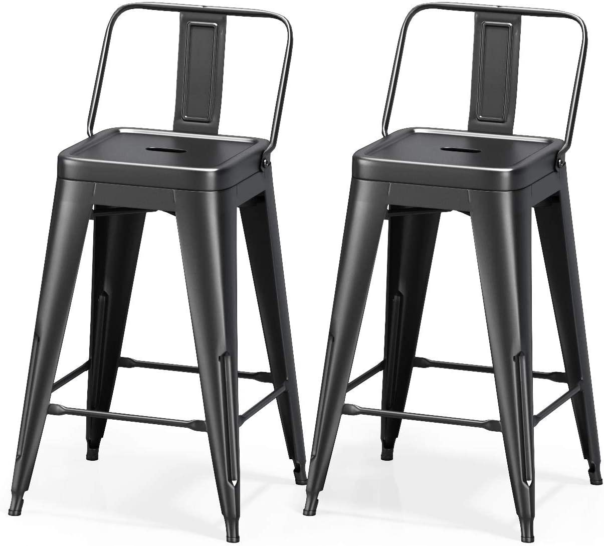 VIPEK 24 Inches Metal Counter Bar Stools Dining Chairs Bar Counter Stools Set of 2 Mid Back Side Chairs 24 Height Barstool Patio Bar Chairs Home Kitchen Dining Stool Bistro Cafe, Matte Black