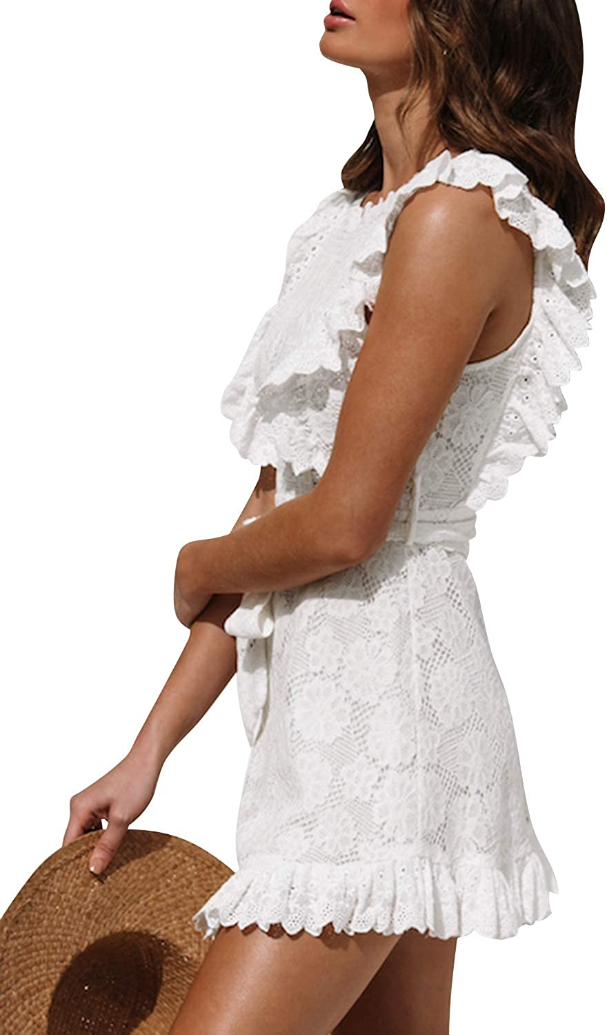 Simplee Womens Half Sleeve Elegant Hollow Out Party Lace A Line Mini Dress Gown