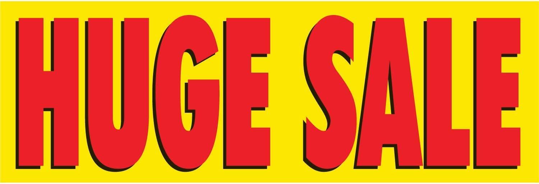 Includes Zip Ties Huge Sale Vinyl Banner -Mesh Wind Resistant 4X12 Foot -Stars HALF PRICE BANNERS Easy Hang Sign-Made in USA