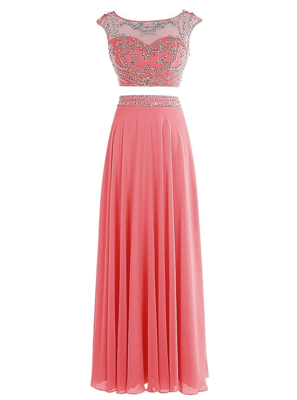 Snowskite Women's Long Two Pieces Chiffon Beaded Prom Evening Dress Coral 18