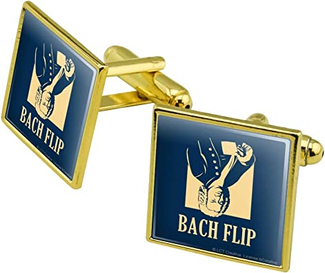 Silver or Gold GRAPHICS /& MORE Bach Flip Back Johann Sebastian Classical Music Funny Humor Square Tie Bar Clip Clasp Tack