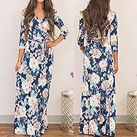 WensLTD Womens Half Sleeve Printing V Neck Wrap Long Maxi Dress with Belt (M, Blue)